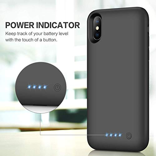 Feob Battery Case for iPhone XS/X/10, Rechargeable 6500mAh Portable Charging Case Extended Battery Pack Cover Power Bank…