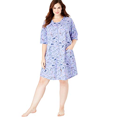 (Dreams & Co. Women's Plus Size Short Sleeve French Terry Robe - Lilac Bubble Bath, 4X )