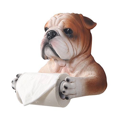Bathroom Faithful Bulldog Toilet Paper Holder Wall