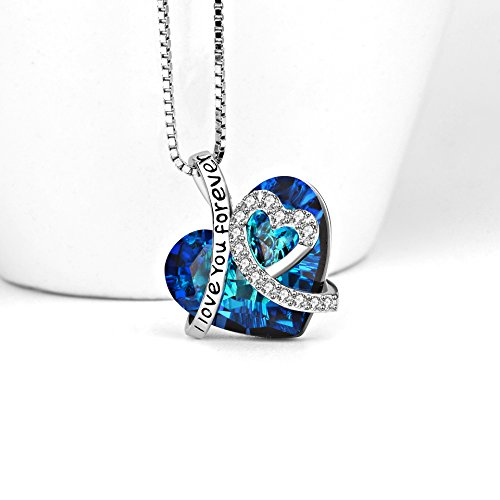 AOBOCO Heart Necklace 925 Sterling Silver I Love You Forever Pendant Necklace with Blue Swarovski Crystals Jewelry for Women Anniversary Birthday Gifts for Girls Girlfriend Wife Daughter Mom by AOBOCO (Image #3)