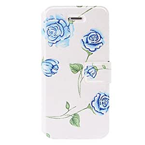 Small Fresh Blue Rose Pattern Leather Case with Holder & Card Slots for iPhone 5/5S