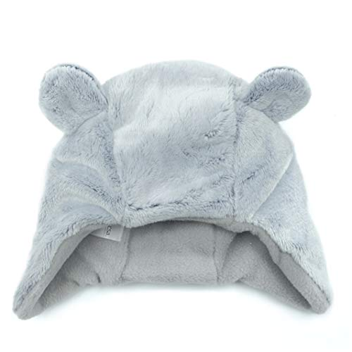 (accsa Baby Novelty Bear Ear Hat with Fleece Lining for 12-24 Month Grey)