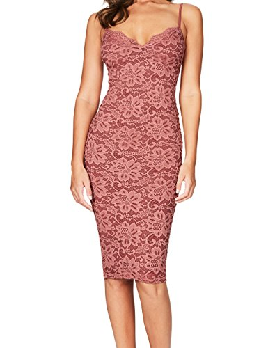 Whoinshop Women's Rayon Lace Strap Celebrity Midi Evening Party Bandage Dress Antique Rose S
