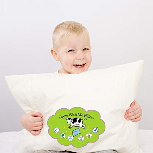 Grow with Me Pillow Toddler Pillow for Kids 14x19 Includes Pillowcase | Soft & Certified Organic Cotton Fabric Chemical & Odor Free | Adjustable Comfort Feature Helps Children Sleep Through The Night (Best Pillows For Kids)