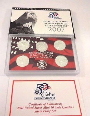 2007 S United States Mint 50 State Quarters Silver Proof Set Gem Uncirculated (Silver 50 Quarter State)