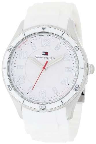 Tommy Hilfiger Women's 1781058 Sport White Silicon with White Bezel and White Textured Dial Watch (Flag Dial Bezel)