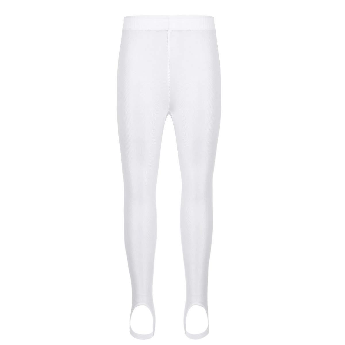 dPois Kids Boys Girls' Stirrup Pants Gymnastics Workout Yoga Stretch Leggings Basic Dance Stockings Tights White 5-6