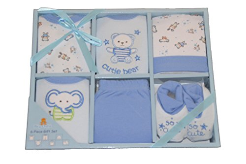 Big Oshi 6 Piece Layette Gift Set, Blue (Piece Layette)