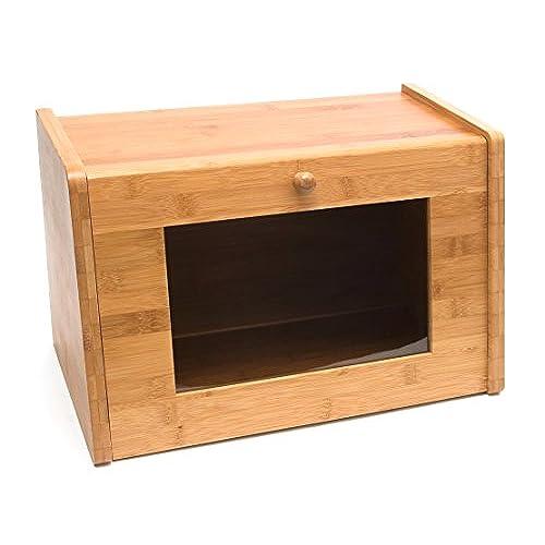 Lipper International 8847 Bamboo Wood Bread Box With Tempered Glass Window 15 1 2 X 9 3 4