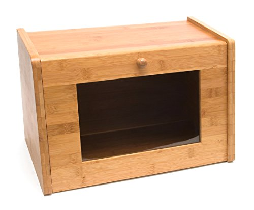"Lipper International 8847 Bamboo Wood Bread Box with Tempered Glass Window, 15-1/2"" x 9-1/2"" x 9-3/4"""