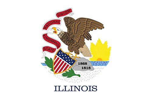 JMM Industries Illinois Flag IL Vinyl Decal Sticker Prairie State Car Window Bumper 2-Pack 5-Inches by 3-Inches Premium Quality UV-Resistant Laminate PDS319 ()