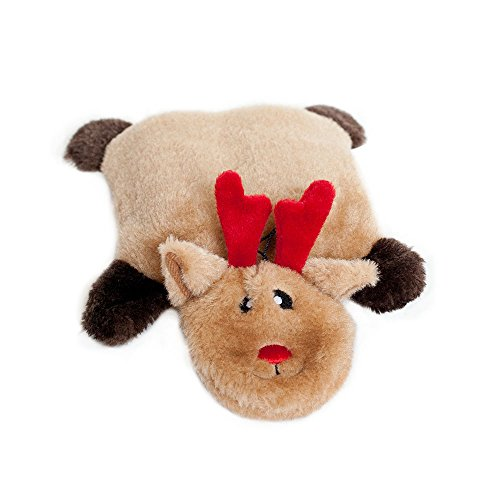 - ZippyPaws Holiday Squeakie Pad Reindeer Squeaky No Stuffing Plush Dog Toy