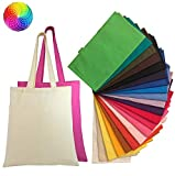 Set of 24 Blank Cotton Tote Bags Reusable 100% Cotton Reusable Tote Bags (2 dozen) (AAssorted Mix)