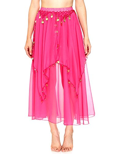 Simplicity Long Sheer Flowy Chiffon Belly Dance Skirt Costume Dancewear, Rose (Sexy Belly Dance Costumes)