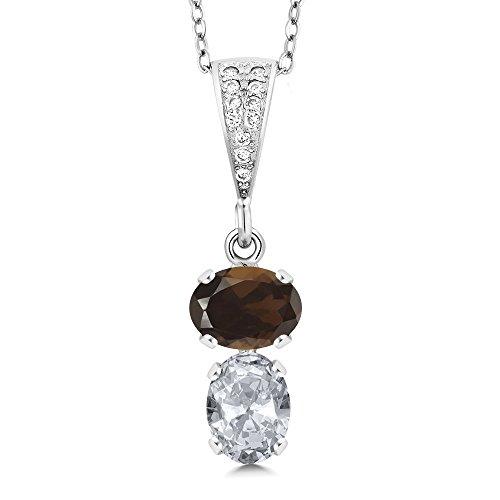 Gem Stone King 2.57 Ct Oval Brown Smoky Quartz White Topaz 925 Sterling Silver Pendant
