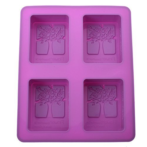 VEIREN Rectangle Silicone Handmade Soap Molds, Baking Biscuit Cake Chocolate Mold, Ice Cube Tray, 4 Tree of Happiness Shaped