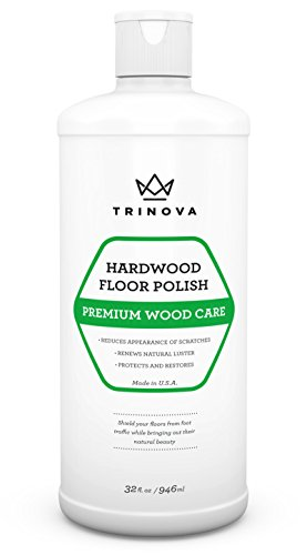 TriNova Hardwood Floor Polish and Restorer - High Gloss Wax, Protective Coating. Best Resurfacing Applicator with Mop or Machine to Restore Natural Beauty 32oz