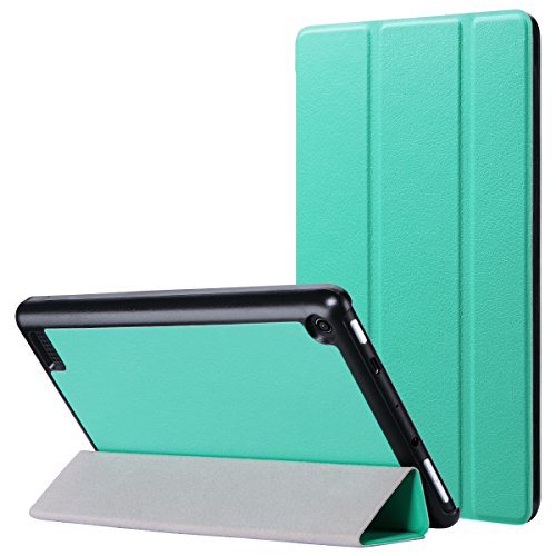 7 Tablet Case (7th Generation, 2017 Release) -Slim Lightweight PU Leather Folding Stand Smart Cover for Fire 7, Mint Green (with Auto Wake/Sleep) ()