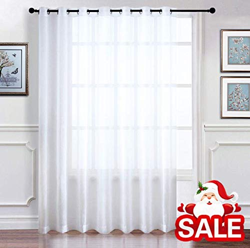 Top Sliding Panel (RYB HOME Extra Wide Sheer Window Curtains for Sliding Glass Patio Door, Light Flirting Grommet Top Vertical Voile Drape, New White, Width 100