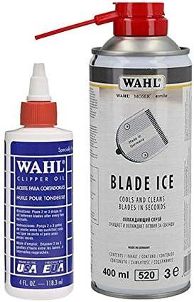 WAHL - Aceite para afeitadora + spray lubricante e higienizante Blade Ice Professional Barbiere: Amazon.es: Salud y cuidado personal