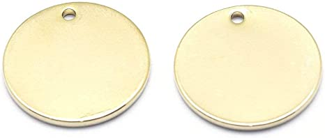 5 Metal Stamping Blanks Circle Charms Antiqued Bronze Pendants Tags 5//8/""