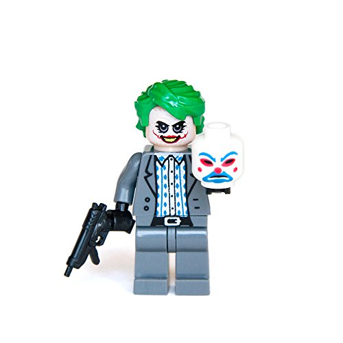 Custom Bricks The Joker Bank Robber with Clown Mask From Dark Knight Character Mini figures Building Bricks Blocks Collection by (Joker Bank Robber Mask)