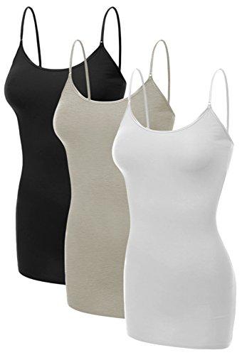 Emmalise Women's Basic Casual Long Camisole Adjustable Strap Cami Layering Top, 3XL, 3Pk Black, Oatmeal, White ()