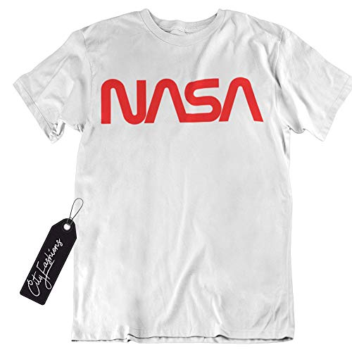 NASA Retro Vintage Designed Worm Logo Short Sleeve Comfortable T-Shirt (White, Medium)