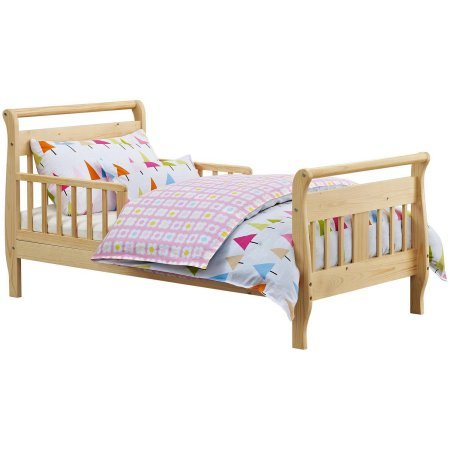 - Toddler Bed (Your Choice in Finish), Home Furniture, Kid's Daybed Made of Solid Hardwood Construction, Sleigh-Style Design, 2 Side Rails, Bedroom, Baby Toddler, BONUS e-book (Natural)