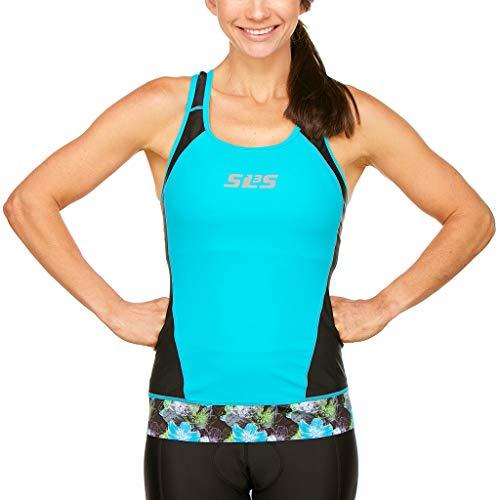 SLS3 Womens Triathlon Top FX   Tri Top Women   Back Pocket   Anti-Friction Seams   Gripper Hem   Jersey   German Designed (Black/Martinica Blue, S)