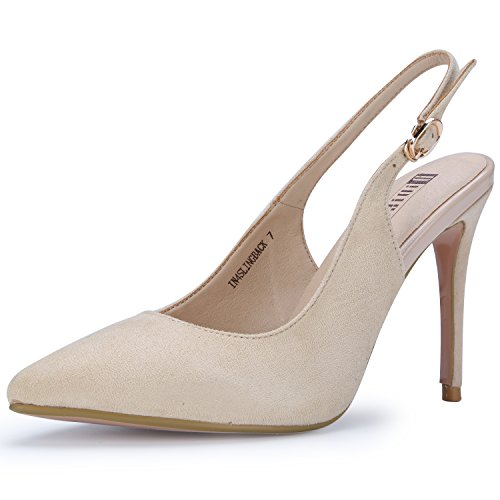 - IDIFU Women's IN4 Slingback Pointed Toe Ankle Strap Stiletto High Heel Dress Pump (Nude Suede, 7 B(M) US)
