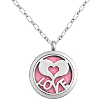 Charmed Craft Heart Love Aromatherapy Essential Oil Diffuser Necklace Stainless Steel Locket Pendant