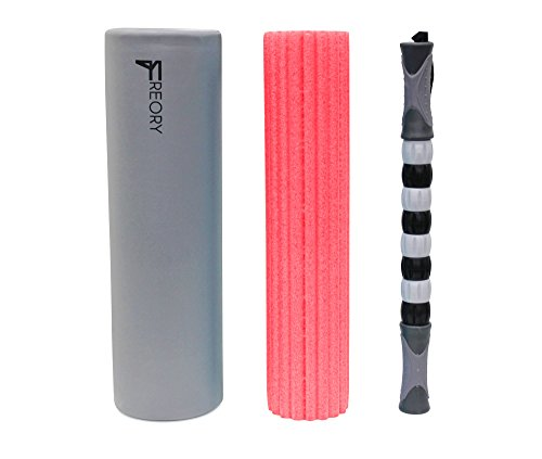 Freory 3 in 1 Foam Roller - Large 18 Inch Trigger Point Foam Roller for Myofascial Release, Foam Exercise Roller with High Medium Density Foam and Deep Tissue Massage Stick (Titanium & Pink/No Bag)