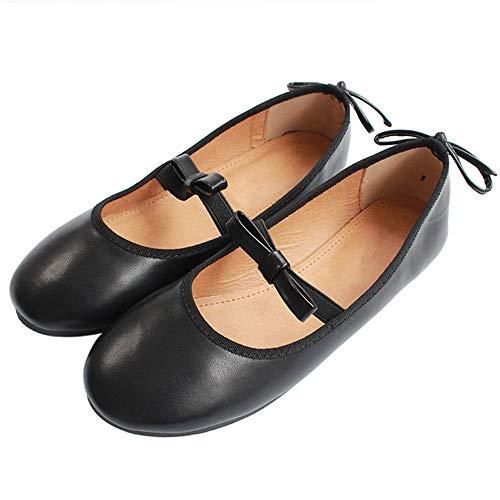 FLYRCX Zapatos de Ballet de Arco de Boca Baja Moda Casual Zapatos Planos de Charol cómodos Zapatos Solos C
