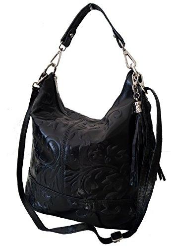 Sa Lucca echt Leder Handtasche Schultertasche Damentasche SCHWARZ