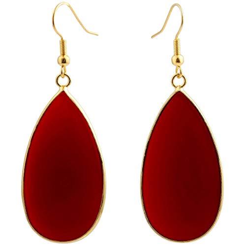 SUNYIK Women's Wine Red Crystal Glass Round Teardrop Dangle Earrings