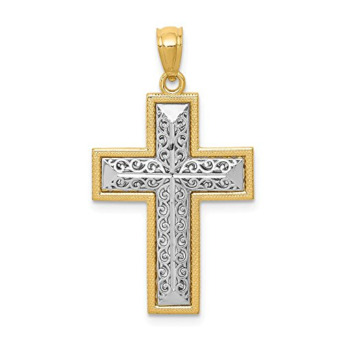 14k Two Tone Yellow Gold Filigree Cross Religious Pendant Charm Necklace Latin Fine Jewelry Gifts For Women For Her ()
