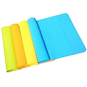 Yatim 4 Pcs Tablet Mat Heat Insulation Waterproof Thin Flexible Food Grade Great Non Stick Baking Silicone Extra Pastry Mat Washable Durable For Kitchen Dining Room