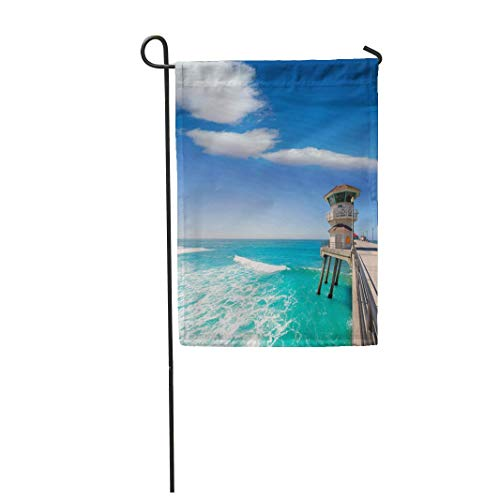 (Garden Flag 12x18 Inches Print On Two Side Polyester Huntington Beach Main Lifeguard Tower Surf City California USA Home Yard Farm Fade Resistant Outdoor House Decor)