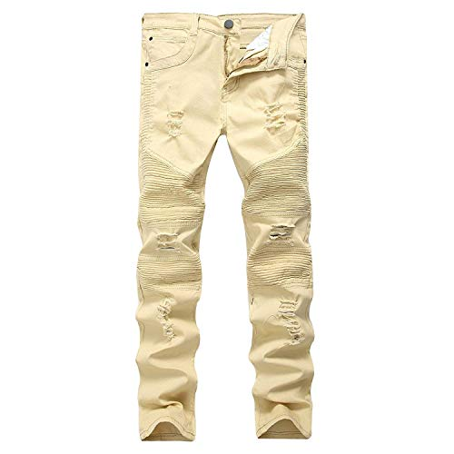 Biker Skinny Sembrare Denim Usati color Strappati Jeans Fit Dei Slim K29 Distrutti Stretch Destroyed Size Uomini Sottile Khaki wnSAqWwx