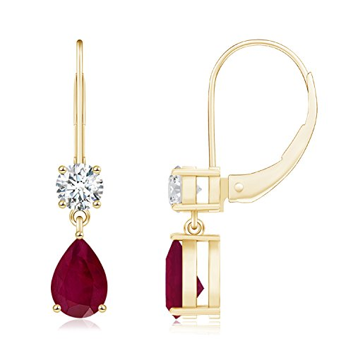 July Birthstone Pear Shaped Leverback Natural Ruby Drop Earrings for Women