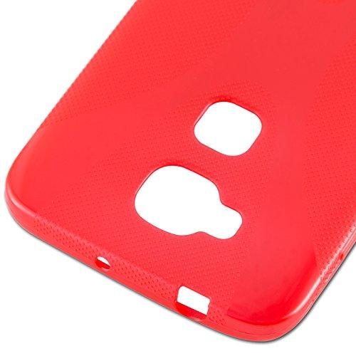 Cadorabo - Huawei G7 PLUS / G8 Cubierta protectora de silicona TPU en diseño X-Line - Case Cover Funda Carcasa Protección en ÓXIDO-NEGRO ROJO-INFIERNO
