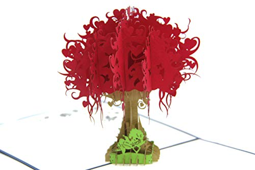 Red Big Tree Angels 3D Paper Pop-up Greeting Card Holiday Gift