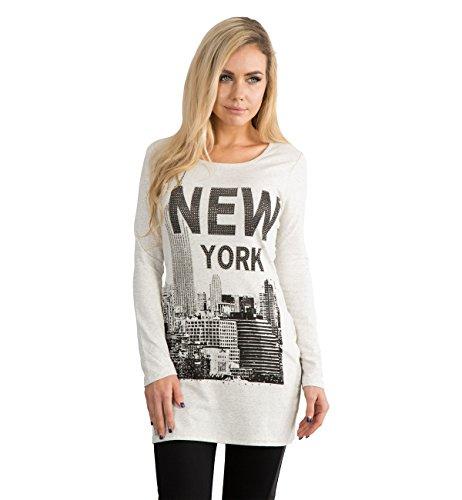 LustyChic - Camiseta de manga larga - Cuello redondo - para mujer Beige New York