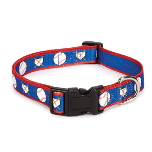 Casual Canine Polyester All-Star Dog Collar, 6 to 10-Inch, Baseball