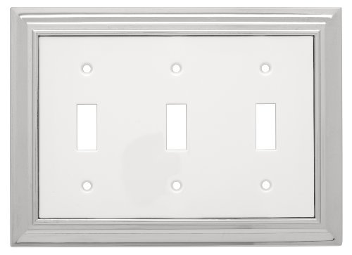 Liberty Hardware 126310 Architectural Triple Switch Wall Plate, Polished Chrome and White