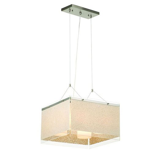 Forecast Lighting Philips Forecast Paciica F1930-36 Pacifica Four-Light Pendant with Sand on Clear Glass Side Panels, Satin Nickel -