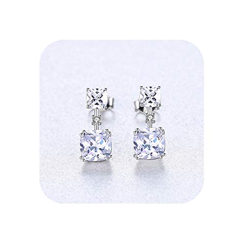Authentic 925 Sterling Silver Double Clear Square Stone Drop Earring for Women Trendy Simple Earrings Jewelry,Silver