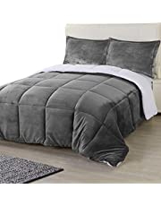Utopia Bedding All Season Alternative Fleece Comforter - Reversible Sherpa Comforter Set (King, Grey) with 2 Pillow Shams - Soft and Comfortable - Machine Washable