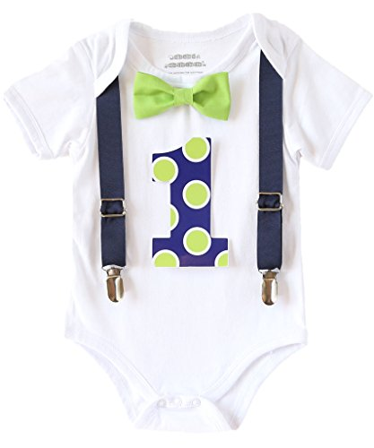 Noah's Boytique Baby Boys First Birthday Outfit Polka - Baby Suspenders Lime Green